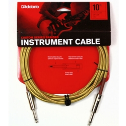 D'Addario PW-BG-10TW Custom Series Braided Instrument Cable, Tweed, 10'